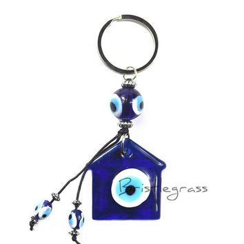 BRISTLEGRASS Turkish Blue Evil Eye House Keychain Car Key Chain Ring Holder Amulet Lucky Charm Pendants Blessing Protection Gift
