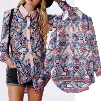 Chiffon Printed Long Sleeve Shirt Collar Blouse