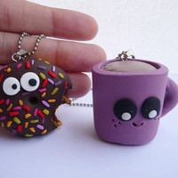 Happy Coffee Cup and Shocked Donut Necklace Set, Doughnut pendant, BFF necklace set, Best friend necklace, Coffee Pendant
