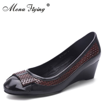 Women's pumps genuine leather shoes wedges  women dress shoes for office ladies pure leather plus size shoes 078-B50