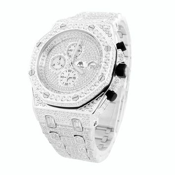 14k White Gold Finish Presidential Luxury Stainless Steel Watch