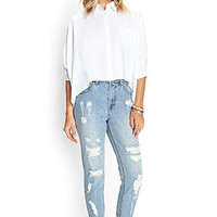 FOREVER 21 Classic Distressed Boyfriend Jeans Light Denim
