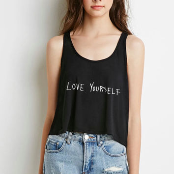 "Justin Bieber ""Love Yourself"" Boxy, Cropped Tank Top"