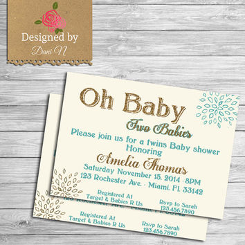 Baby shower invite, glitter baby shower, invitation, printable, gold and teal, twins baby shower