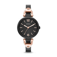 Georgia Three-Hand Bangle Watch - Black