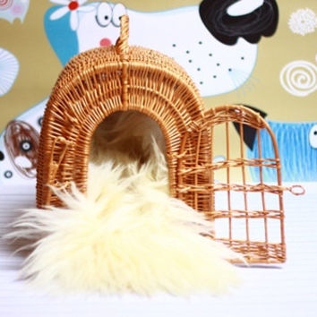 Wicker Cat Dog bed , Cat Dog cave , pet bed , Cat Dog house ,pet furniture hand-felted with Genuine Real Sheepskin inside -20% SALE!
