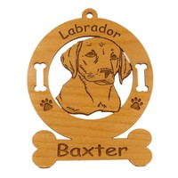 3483 Labrador Pup Head Ornament Personalized with Your Dog's Name