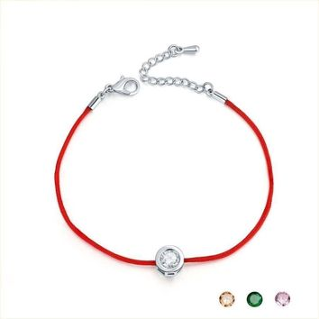 9 Colors Red Rope Bracelet Round 6mm Cubic Zircon Charm Friendship Bracelets, Bangles for Women