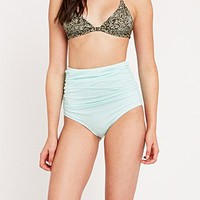 Out From Under Soothing Sea Ruched High-Waist Bikini Bottoms in Mint - Urban Outfitters