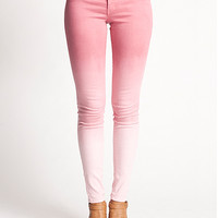 Ombre Pink to White Fade Mid Rise Skinny Denim Jeans in Coral | Edge of Urge