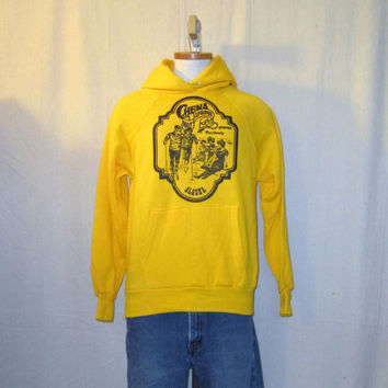 Vintage Deadstock 80s ALASKA GRAPHIC HOODIE Fairbanks Hot Springs Small Cotton Acrylic Sweatshirt