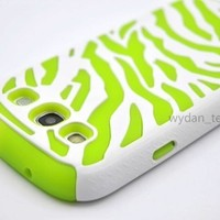Zebra Hybrid Combo Hard Soft Case for Samsung Galaxy S3 - Neon Green/White