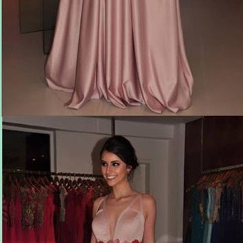 2019 V-Neck Elegant Prom Dress, long prom dress, evening dress,Ball Gown,prom dresses H5980