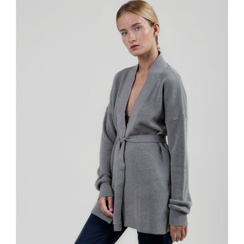 Long Merino Cardigan - Melange Gray