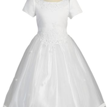 Cut Work Lace Girls Plus Size Communion Dress w. Tulle Skirt 12x-20x