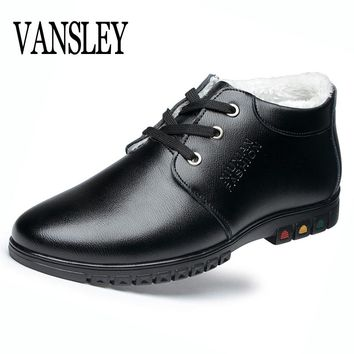 2017 New Winter Men Fashion Leather Boots Casual Man Moccasin Brand Winter Men Ankle Boots Cheap Mens Black Boots