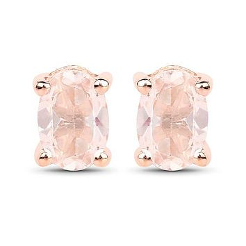 18K Rose Gold Natural .65CT Oval Cut Peach Morganite Earrings