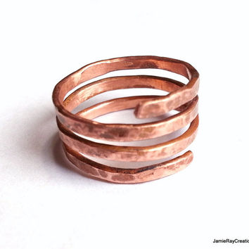 Raw Copper Wire Ring, Unisex Hand Forged Hammered Spiral Copper Ring, Recycled Copper Artisan Ring, Textured Patina Coil Copper Wrap Ring