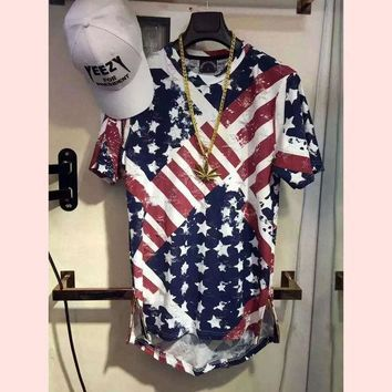 CREYU3C High quality hip hop popular T shirt American flag justin bieber men Hollow holes Golden side zipper T-shirt clothing