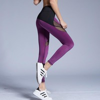 Mesh Splice High Waist Elastic Patchwork Legging Push Up