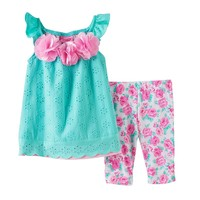 Nannette Floral Eyelet Tunic & Leggings Set - Baby Girl, Size: