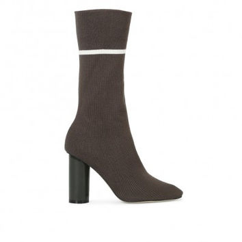 ELLIOTT SOCK FIT STRIPE ANKLE BOOTS IN KHAKI KNIT