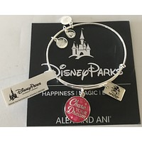 Disney Alex and Ani Parks Chase Your Dream Disney Run Bangle Silver Finish New