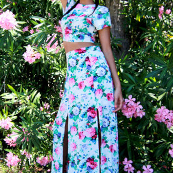 Lovecat Brunch Two Piece Skirt Set in Pink Floral