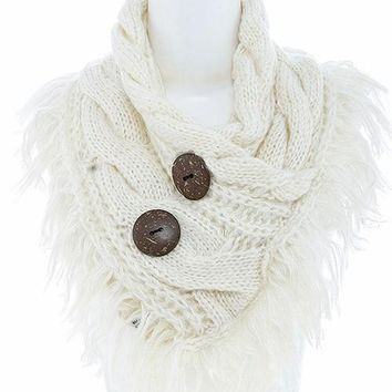 Ivory Button Accent Fringe Scarf