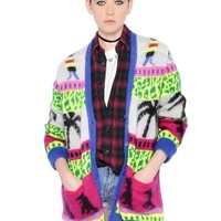 Indie Designs Saint Laurent Inspired Oversized Dinosaur Mohair Jacquard Cardigan