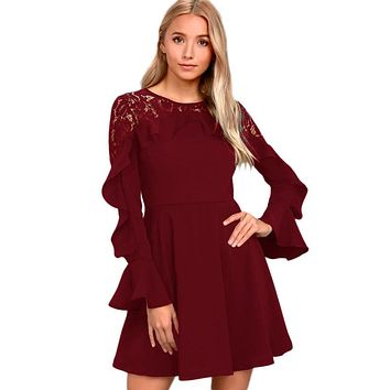 Chicloth Burgundy Lace Long Sleeve Skater Dress