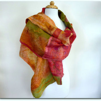 Felted Scarf. Chic Fashion Wrap. Gold Raspberry Olive Green Rust. Nuno Felted Scarves.Wool Silk