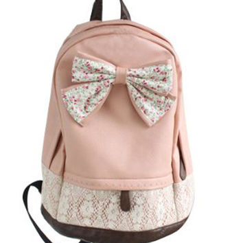 Women Lace Floral Backpack With Bow School Bag