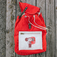 Soviet CHEBURASHKA Rucksack / RARE Red Windbreaker Canvas Kids Adults Backpack / 1970's USSR Russian Vintage Чебурашка Small Drawstring Bag