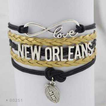 New Orleans Football - Infinity Love Football Bracelet