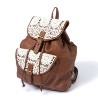 Mesa Faux Leather and Crochet Backpack    Icing