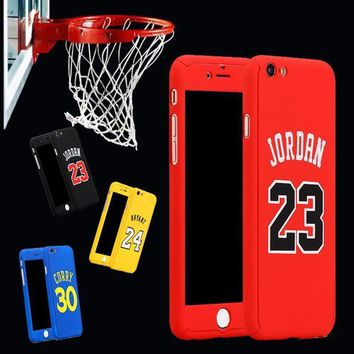 LMFON for iphone 6 case 360 kobe bryant curry full body case for iphone 7 plus 6 6s plus iphone7 michael jordan air 23 basketball case  number 4