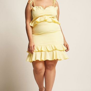 Plus Size Gingham Ruffle Dress