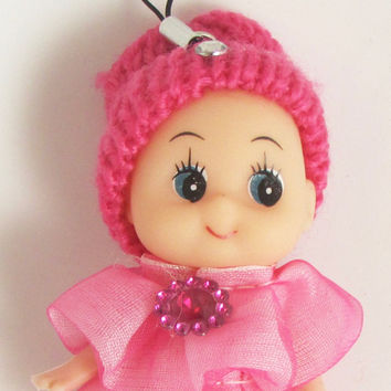 "Child Adorable Ornament Fuchsia Dress and Hat with Jewels 3"" x 2"""