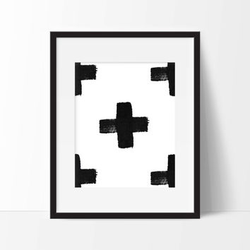 Abstract Minimal Cross Art Print - Nursery Art - Children's Wall Art - Playroom Art - Minimalist Art