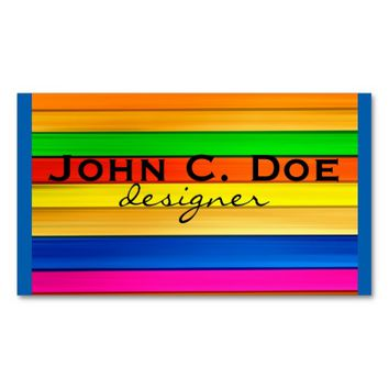 extreme color business card bold colorful stripes