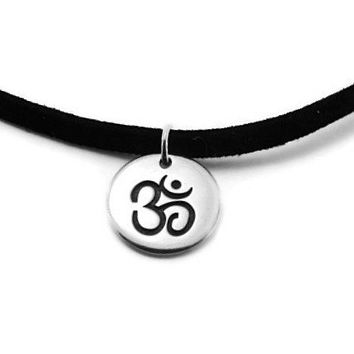 Mens Sterling Silver Om Suede Necklace -Yoga Inspired necklace- gifts with meaning - Om Necklace, Om Symbol, Hindu, Sanskrit Karma, AUM OHM