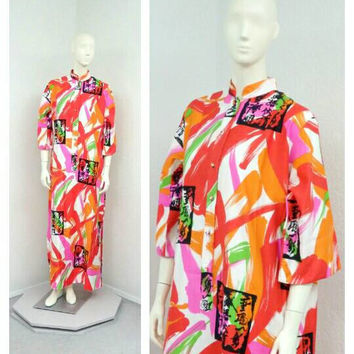 Vintage 70s Catherine Ogust Abstract Caftan Dress, Maxi Dress, Chinese Dress, Asian Dress, Muumuu, Cotton Caftan, Beach Caftan, Beach Dress