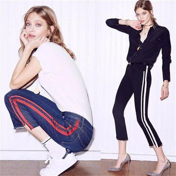 ac VLXC High Waist Summer Ladies Stripes Irregular Jeans [10384190412]