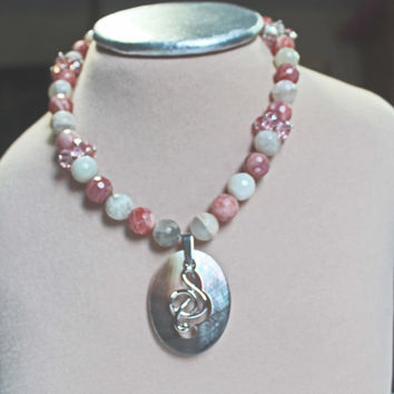Oregon Sunstone, Americana, Bead Choker, Mother of Pearl (MOP) Pendant , G Clef Charm, Pink Swarovski Beads, Pink Cream Beads, Gift For Her