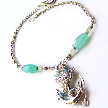 Big Anchor Necklace Sparkles with large faceted Gemstones and Aquamarine Beads on a Beautiful Silver Chain. Handcrafted Nautical Jewelry