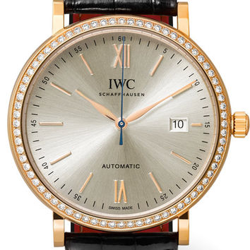 IWC SCHAFFHAUSEN - Portofino Automatic 40 alligator, 18-karat red gold and diamond watch