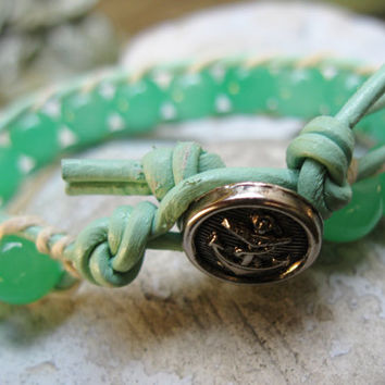 MINT green beaded leather wrap bracelet | Button bracelet | Nautical bracelet | Anchor button