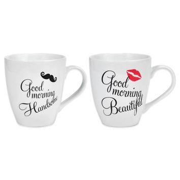 Pfaltzgraff® Good Morning Handsome and Beautiful Mugs (Set of 2)