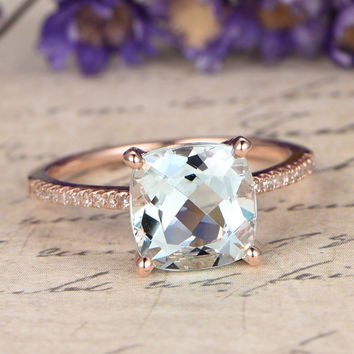 8mm Cushion Cut Aquamarine engagement ring with diamond,Solid 14k Rose gold,promise ring,bridal,custom made fine jewelry,Pave set